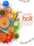 Prochowy kolor gulal dla Szczęśliwego Holi tła royalty ilustracja