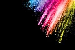 Prochowy wybuch Zbliżenie kolor cząsteczki wybuch odizolowywający Zdjęcia Stock