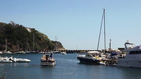 Procida, boats moored in the Marina of Chiaiolella. stock video