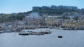 Procida. Coastline. View from the boat. Royalty Free Stock Image