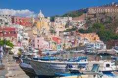 Procida harbor in Italy. The harbor in Procida Island, Italy stock photos
