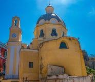 Procida, igreja amarela Foto de Stock