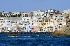 Procida, island in the mediterranean sea. View of procida from the boat, italian napoli coast Stock Images