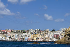 Procida, island in the mediterranean sea. View of procida from the boat, italian napoli coast royalty free stock photos