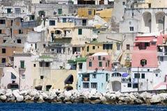 Procida, island in the mediterranean sea. View of procida from the boat, italian napoli coast stock image