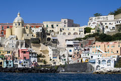 Procida, island in the mediterranean sea. View of procida from the boat, italian napoli coast royalty free stock photo