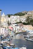 Procida, island in the mediterranean sea. View of procida from the boat, italian napoli coast stock photos