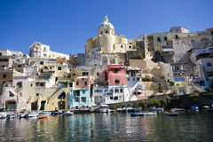 Procida, island in the mediterranean sea. View of procida from the boat, italian napoli coast Royalty Free Stock Photography