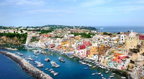 Procida island panoramic view in Naples Gulf Stock Images