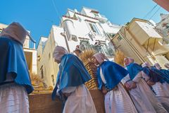 PROCIDA EASTER Good Friday procession. PROCIDA, ITALY - MARCH 25, 2016 - Every year the procession of the `Misteri` is celebrated at Easter`s Good Friday in Stock Images