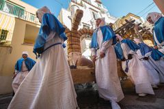 PROCIDA EASTER Good Friday procession. PROCIDA, ITALY - MARCH 25, 2016 - Every year the procession of the `Misteri` is celebrated at Easter`s Good Friday in Royalty Free Stock Images