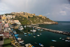Procida landscape. In Italy with ships Stock Photography