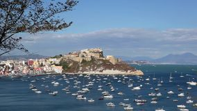 Procida, Punta Monaci and the castle. stock video footage