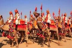 Procissão do camelo no festival do deserto, Jaisalmer, Índia Fotografia de Stock Royalty Free