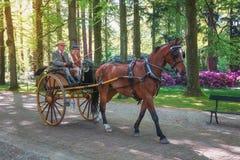 Procissão dos treinadores na pista ao gabinete do Het do palácio em Apeld Foto de Stock Royalty Free