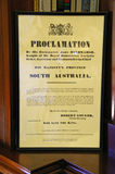 Proclamation. Inside Government House in Adelaide, Australia on one of the rare open days. This is the Proclamation of the State of South Australia stock photo