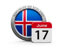 Proclamation of the Republic Iceland. Emblem of Iceland with calendar button - The Seventeenth of June - represents the Proclamation of the Republic Iceland Stock Photo
