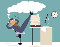 Procrastination. Procrastinating man sitting in the office with his legs up on a pile of papers, whistling and daydreaming, EPS 8 vector illustration Stock Photography
