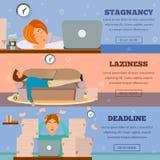 Procrastinating Characters Horizontal Cartoon Banners. Procrastination stagnation laziness control and deadlines stress managing 3 cartoon horizontal banners Royalty Free Stock Photos
