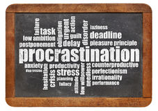 Procrastination word cloud Royalty Free Stock Images