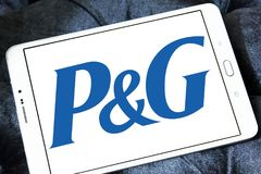 Procter & Gamble , P&G company logo. Logo of Procter & Gamble , P&G company on samsung tablet . P&G is an American consumer goods corporation. It primarily Stock Photos