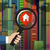 Procura de casa e pesquisa Fotos de Stock Royalty Free
