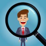 Procurando um homem de negócios Through Magnifying Glass Fotografia de Stock Royalty Free