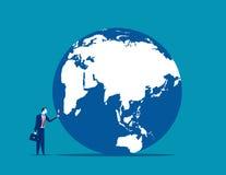 procurarar Um homem de negócios que olha o globo com ampliação Conceito ilustração do vetor