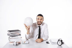Procurator working in a football business in office. Procurator working in a football business Royalty Free Stock Photography