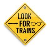 Procure o sinal de aviso dos trens, cartaz abstrato do negócio da qualidade super ilustração do vetor