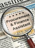 Job Opening Procurement And Finance Assistant. 3D. Procurement And Finance Assistant - Close View Of A Classifieds Through Loupe. Procurement And Finance Stock Image
