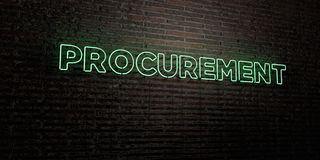PROCUREMENT -Realistic Neon Sign on Brick Wall background - 3D rendered royalty free stock image Stock Photos