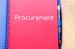 Procurement write on notebook Royalty Free Stock Image