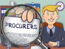 Procurers through Magnifier. Doodle Design. Stock Photos