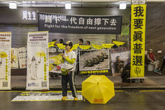 Prodemocratieverdedigers in Hong Kong Stock Foto's