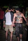 Prodigy fan. Novi Sad, Petrovaradin fortress, EXIT music festival, July 2013. Cool back tatoo on Prodigy fan at Prodigy concert, main stage Stock Photos