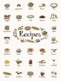 Prodotti alimentari/autoadesivi di ricetta/illustrazioni disegnate a mano sveglie Fotografia Stock