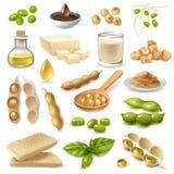 Prodotti alimentari della soia messi illustrazione vettoriale
