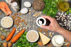 Prodotti alimentari utili per crescita ed il rafforzamento dei capelli Fotografia Stock Libera da Diritti