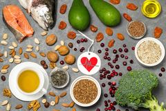 Prodotti alimentari utili per cuore Fotografia Stock