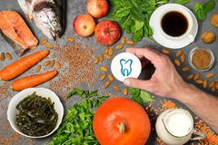 Prodotti alimentari utili per i denti Fotografia Stock Libera da Diritti
