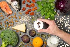 Prodotti alimentari utili per il rafforzamento delle ossa Fotografia Stock Libera da Diritti