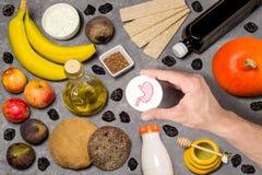 Prodotti alimentari utili per lo stomaco Fotografia Stock