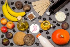 Prodotti alimentari utili per lo stomaco Immagini Stock