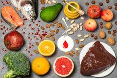 Prodotti alimentari utili per sangue Immagini Stock