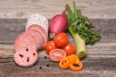 Prodotti a base di carne elaborati Fotografia Stock Libera da Diritti