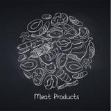 Prodotti a base di carne sulla lavagna illustrazione di stock