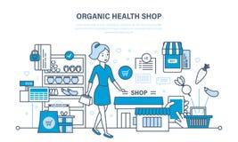 Prodotti biologici del negozio, contatore con i prodotti, ordinanti ed acquistanti le merci royalty illustrazione gratis