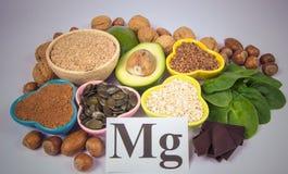 Prodotti che contengono magnesio Alimento sano Priorità bassa bianca Fotografia Stock Libera da Diritti