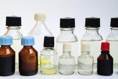 Prodotti chimici in bottiglie Fotografia Stock Libera da Diritti